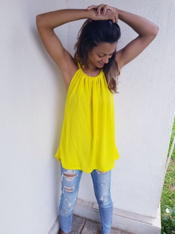 Lemon drawstring top